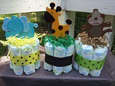 3 Jungle theme mini diaper cake baby shower by diapercake4less