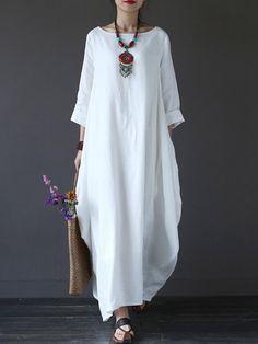 Round Neck Pocket Plain Maxi Dress