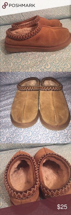 Chestnut Tasman Uggs Chestnut Tasman Uggs. In used condition. Some discoloration shown in pictures. Stretched out some over time. Will probably fit a 7/7.5. Smoke free home. Price negotiable, no trades. UGG Shoes