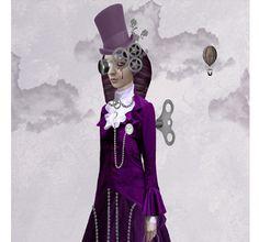 Steampunk Art Print Mechanical Girl & Birds by HarrietsImagination,