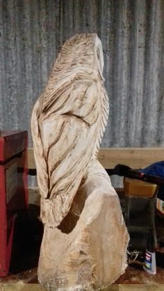 Stunning Chainsaw Carving Owl Bench Solid Oak 2 Owls And