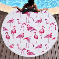 Popular Flamingo Series Summer Beach Towel Microfiber Swimming B Blanket On Wall, Beach Blanket, Wall Blankets, Flamingo Print, Pink Flamingos, Flamingo Beach Towel, Glands, Pink Bird, Hand Painting Art