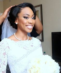 Beautiful wedding updo for African American bride
