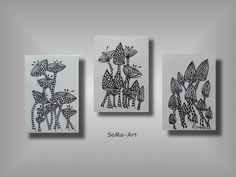 Acrylbild+auf+Malpappe+*Crazy+Flowers+*++Trio+#013+von+SoMa-Art+auf+DaWanda.com