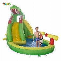 [ $29 OFF ] Yard Crocodile Inflatable Slide Water Park Kids Pool Bounce House Summer Cool Outdoor Toys Special Offer For Middle East