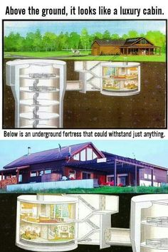 Zombie fortress and nuclear arms fortress in one! Underground Living, Underground Shelter, Underground Homes, Underground Survival Shelters, Warehouse Plan, Warehouse Living, Doomsday Bunker, Apocalypse Survival, Zombie Apocalypse