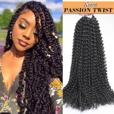 18 inch Passion Twist Hair 22 Strands Water Wave Crochet Braids for Passion Twist Crochet Hair Extensions for Women Senegalese Twist Hairstyles, Twist Braid Hairstyles, Braided Hairstyles For Black Women, Short Hairstyles, Wedding Hairstyles, Curly Crochet Braids, Crochet Braids Hairstyles, Crochet Hair Styles, Crochet Hair Extensions