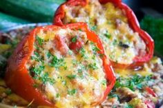 Peppers with quinoa, spinach and feta cheese - simple and healthy #vegetarian recipe