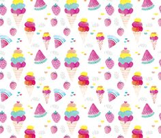 Colorful summer fruit ice cream water melon and strawberry illustration watercolors print fabric by littlesmilemakers on Spoonflower - custom fabric
