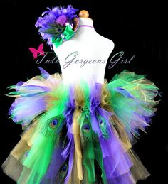 Peacock Mardi Gras bustle tutu in emerald green, purple and gold.