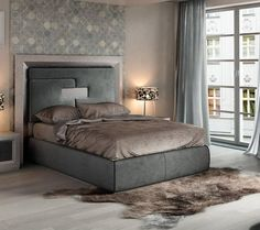 ESF Enzo Gray High Headboard King Platform Bed Modern Contemporary Made In Spain & 18 best HIGH Headboards images on Pinterest | Bedroom decor Bed ...