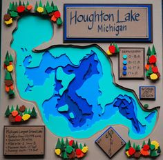 map of Houghton Lake - Michigan. x framed in shadow box. Foam Crafts, Craft Foam, Paper Crafts, Houghton Lake Michigan, Unique Words, Lake View, Shadow Box, Frame, Vsco