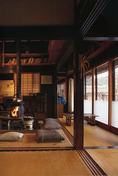 Japanese farmhouse interior with wood stove to replace original irori – lo res - japanese architecture Japanese Interior Design, Japanese Design, Farmhouse Interior, Farmhouse Style, Rustic Farmhouse, Cosy Interior, Country Interior, Farmhouse Ideas, Luxury Interior