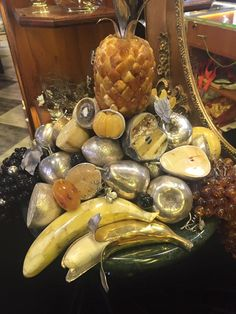 Patera fruits, hand-made with Baltic Amber end Silver. natural size