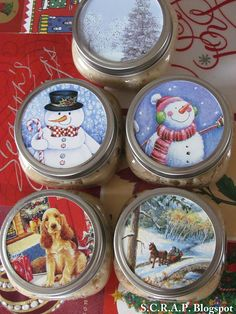 Recycle old Christmas cards you saved from last year and decorate the canning jar toppers with them