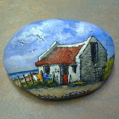 Photo from mariusprinslooart Pebble Painting, Pebble Art, Stone Painting, Painted Rocks Craft, Painted Stones, Rock Flowers, Painted Shells, Rock And Pebbles, House On The Rock