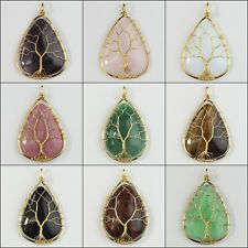 Dangle Clip on Earring Tree of Life Jewelry Amethyst Peridot Chakra Wire Wrap Gemstone for Girl