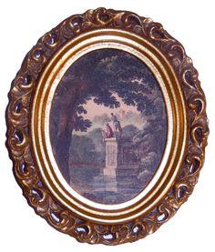 Antique Etching Print Landscape Hand Colored Gold Leaf Italian Carved Wood Frame #Florentine