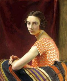 "George Spencer Watson (1869-1934) | The Orange Dress, 1926 | Oil on canvas, 25"" x 30"""