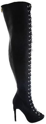 Womens Thigh High Boots Open Toe Stiletto Heel Lace Up Zip Boots Shoes Nubuck Thigh Highs, Black Boots, Open Toe, Heeled Boots, Stiletto Heels, Fashion Shoes, Lace Up, Zipper, High Heel Boots