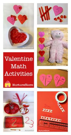 Lots of ideas for Valentine math station, Valentine math games, heart-themed math activities. Includes free printables.