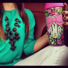 Monogrammed Lilly Pulitzer coffee thermal