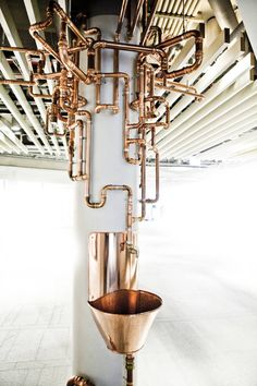 Drinking fountain art at installation Mood in Stockholm, by artist Katarina Lofstrom Cafe Interior, Interior Design, Drinking Fountain, Copper Art, Copper Tubing, Interior Paint Colors, Paint Colors For Living Room, Industrial Chic, Commercial Interiors