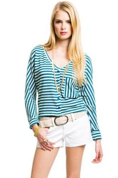 $16 at www.heavenlycouture.com Striped Knit Cardigan in Turquoise and White