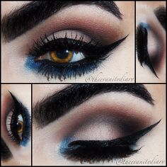 Inspired by the ever so flawless @loreleicakes on the lid is macs blanc type, in the crease is macs handwritten, soft brown & urban decay blackout. In the lower lash line is the blue from the rainbow tower from bitchslap cosmetics. Lower lashes are Florence, upper lashes are Sasha both from @fauxlash. - @theevanitydiary- #webstagram