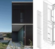 Javier Larraz Arquitectos. A latticework conformed of commercial profiles of coated aluminium in rectangular section externally covers the building