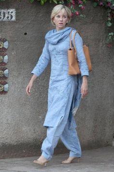 Naomi Watts in blue handloom cotton salwar
