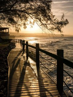 Sunset over Ocean Walkway by Stefan Mazzola Beautiful Beach Pictures, Beach Photos, Beautiful Beaches, Dibujos Pin Up, Landscape Photography, Nature Photography, Natural Pond, Image Nature, Summer Backgrounds