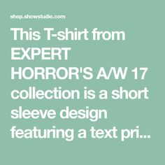 This T-shirt from EXPERT HORROR'S A/W 17 collection is a short sleeve design featuring a text print logo to the left chest and large reworked 'alcohol' graphic to the back.