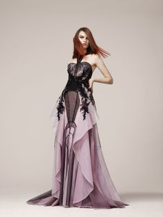 Strapless floor length evening gown with black detailing