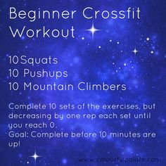 Exercise For Beginners Beginners Crossfit Workout - good for travel Crossfit Workouts For Beginners, Wods Crossfit, Crossfit At Home, Easy Workouts, At Home Workouts, Insanity Workout, Best Cardio Workout, Workout Plans, Workout Fitness