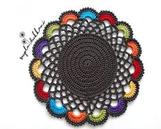 Crochet Circle Pattern, Free Crochet Doily Patterns, Crochet Placemats, Crochet Symbols, Crochet Circles, Crochet Stitches Patterns, Crochet Motif, Crochet Designs, Crochet Doilies