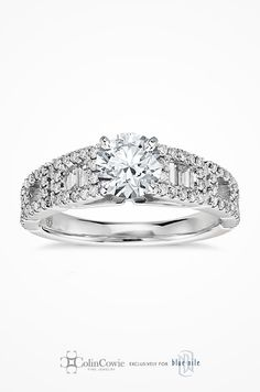 Colin Cowie Empire Diamond Engagement Ring in Platinum. Modern in design, this unique engagement ring setting features pavé-set round diamonds that surround baguette-cut diamonds to complement the center diamond of your choice.