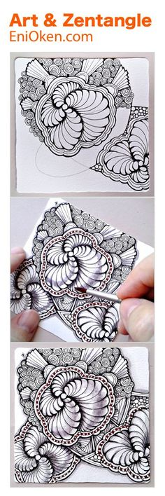 Learn how to create beautiful Zentangle®️️️ with showgirl and ribbons • enioken.com