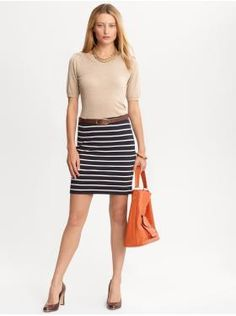 .:* L - Beautiful work casul/dress -- navy stripped skirt, nude top and orange bag. [Women's Apparel: outfits we love | Banana Republic]