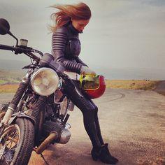 The perfect pair. #Belstaff & #Moto #bikegirl | caferacerpasion.com