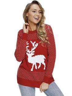 2b8870d10b Laceshe Women s Christmas Reindeer Print Long Sleeve Sweater