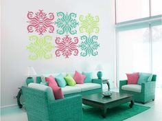 Wall stickers with colourful ornament #wallsticker #sticker #home #ornament