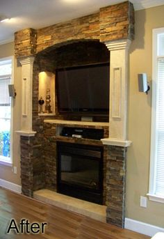 would love this in living room or Mack's man cave - stack stone fireplace