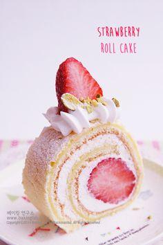 딸기 롤케익 : 크림치즈 크림을 넣은 Strawberry Roll Cake (동영상)