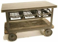 Sturdy, functional #kitchenisland. I particularly like the metal baskets for drawer storage.