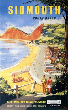 British Railways Southern Region travel poster of Sidmouth South Devon Artwork by Sykes This Poster dates to 1959 This is truly an outstanding British Railways, Southern Railways, British Travel, British Seaside, Train Posters, Railway Posters, Paris Poster, South Devon, Vintage Travel Posters