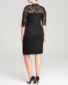 Karen Kane Plus V Neck Scalloped Lace Dress | Bloomingdale's #Karen_Kane #Black #Lace #Holiday #Party_Dresses #Plus #Size #Fashion #Plus_Size_Fashion #Bloomingdales