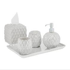 Black Tie Bathroom Set - Pearl Grey