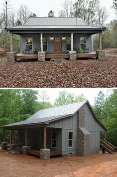 rustic house Ideas farmhouse house country metal buildings for 2019 Rustic House Plans, Small House Plans, Small Rustic House, Small Home Kits, Rustic House Design, Farmhouse House Plans, Log Cabin Plans, Cabin Floor Plans, Cabin Kits