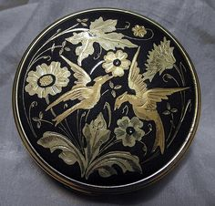 Vintage Spanish Damascene Goldtone Powder Compact with Bird of Paradise Design, 2-1/2 Inches in Diameter.
